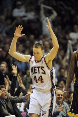 22 April 2002: Keith Van Horn #44 of the New Jersey Nets celebrates a three pointer against The Indiana Pacers during their first round playoff game at the Continental Airlines Arena in East Rutherford, New Jersey.   Digital Image. NOTE TO USER: User expr