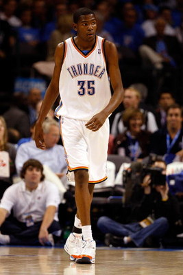 OKLAHOMA CITY - OCTOBER 29:  Kevin Durant #35 of the Oklahoma City Thunder walks up court during the game against the Milwaukee Bucks at the Ford Center on October 29, 2008 in Oklahoma City, Oklahoma. The Bucks won 98-87.  NOTE TO USER: User expressly ack