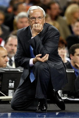 DETROIT - APRIL 06:  Head coach Roy Williams of the North Carolina Tar Heels looks on in the second half against the Michigan State Spartans during the 2009 NCAA Division I Men's Basketball National Championship game at Ford Field on April 6, 2009 in Detr