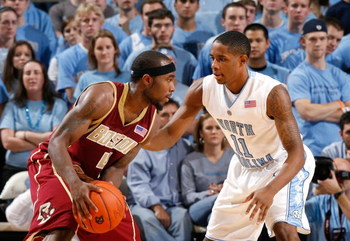 CHAPEL HILL, NC - JANUARY 4:  Tyrese Rice #4 of the Boston College Eagles looks to make a play to the basket against Larry Drew #11 of the North Carolina Tar Heels during their game on January 4, 2009 at the Dean E. Smith Center in Chapel Hill, North Caro