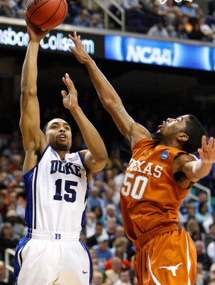 GREENSBORO, NC - MARCH 21:  Gerald Henderson #15 of the Duke Blue Devils shoots over Varez Ward #50 of the Texas Longhorns during the second round of the NCAA Division I Men's Basketball Tournament at the Greensboro Coliseum on March 21, 2009 in Greensbor