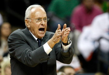 CHARLOTTE, NC - MARCH 31:  Head coach Larry Brown of the Charlotte Bobcats yells to his team during their game against the Los Angeles Lakers at Time Warner Cable Arena on March 31, 2009 in Charlotte, North Carolina.  NOTE TO USER: User expressly acknowle