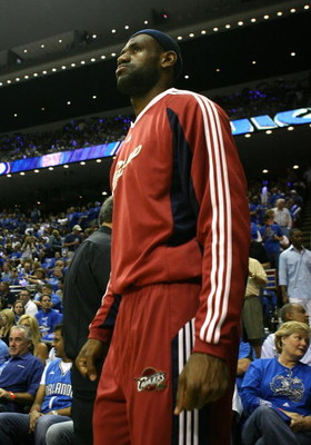 ORLANDO, FL - MAY 30: LeBron James #23 of the Cleveland Cavaliers looks on during introductions against the Orlando Magic in Game Six of the Eastern Conference Finals during the 2009 Playoffs at Amway Arena on May 30, 2009 in Orlando, Florida. NOTE TO USE
