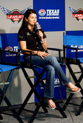 FT. WORTH , TX - JUNE 04:  Danica Patrick speaks at a press conference during practice for the IRL IndyCar Series Bombardier Learjet 550k on June 4, 2009 at Texas Motor Speedway in Ft. Worth, Texas.  (Photo by Jonathan Ferrey/Getty Images)