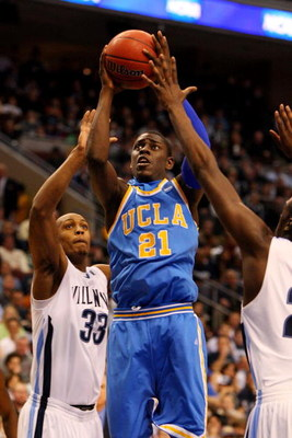 PHILADELPHIA - MARCH 21:  Jrue Holiday #21 of the UCLA Bruins shoots against Dante Cunningham #33 of the Villanova Wildcats during the second round of the NCAA Division I Men's Basketball Tournament at the Wachovia Center on March 21, 2009 in Philadelphia