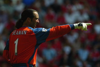 LONDON - AUGUST 17:  David Seaman of Manchester City in action during the FA Barclaycard Premiership match between Charlton Athletic and Manchester City on August 17, 2003 at The Valley in London, England.  Manchester City won the match 3-0.  (Photo by Ph