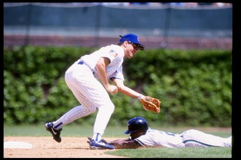 CHICAGO - May 15: Second baseman Ryne Sandberg of the Chicago Cubs tags out someone during a game against the Florida Marlins on May 14, 1994 at Wrigley Field in Chicago, Illinois. (Photo by Jonathan Daniel/Getty Images)