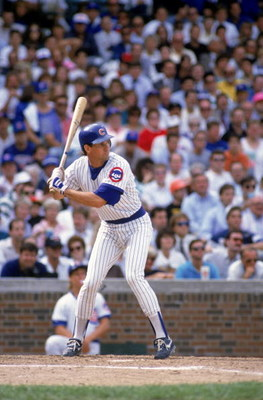 CHICAGO - 1989:  Ryne Sandberg #23 of the Chicago Cubs bats during a game in the 1989 season at Wrigley Field in Chicago, Illinois. (Photo by Jonathan Daniel/Getty Images)