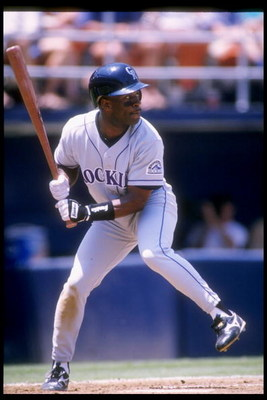 22 Jun 1995:  Infielder Eric Young of the Colorado Rockies swings at the ball during a game against the San Diego Padres at Jack Murphy Stadium in San Diego, California.  The Rockies won the game 3-2. Mandatory Credit: Stephen Dunn  /Allsport