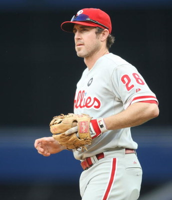 NEW YORK - MAY 24:  Chase Utley #26 of the Philadelphia Phillies in the field against the New York Yankees on May 24, 2009 at Yankee Stadium in the Bronx borough of New York City.  (Photo by Nick Laham/Getty Images)