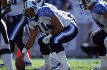 7 Oct 2001:  # of Bruce Mathews #74 of the Tennessee Titanswaits for the snap during the game against the Baltimore Ravens at the PSINET Stadium in Baltimore, Maryland. The Ravens defeated the Titans 26-7.Mandatory Credit: Doug Pensinger  /Allsport