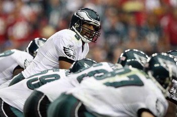 GLENDALE, AZ - JANUARY 18:  Quarterback Donovan McNabb #5 of the Philadelphia Eagles looks down the line during the NFC championship game against the Arizona Cardinals on January 18, 2009 at University of Phoenix Stadium in Glendale, Arizona.  (Photo by J