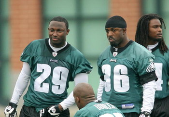 PHILADELPHIA - MAY 1: Running back Brian Westbrook #36 (R) stands on the sideline with second round draft pick running back LeSean McCoy #29 of the Philadelphia Eagles during minicamp at the NovaCare Complex on May 1, 2009 in Philadelphia, Pennsylvania. (