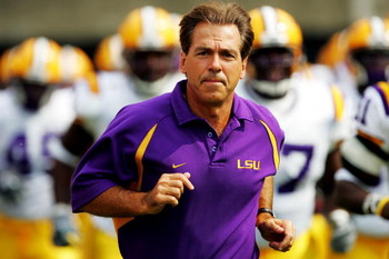 ATHENS, GA - OCTOBER 2:  Head coach Nick Saban of the LSU Tigers leads his team out of the locker room prior to the start of the game against the Georgia Bulldogs at Sanford Stadium on October 2, 2004 in Athens, Georgia. (Photo by Jamie Squire/Getty Image