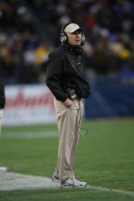 NASHVILLE, TN - DECEMBER 31:  Head coach Bobby Johnson of the Vanderbilt Commodores looks on against the Boston College Eagles during the Gaylord Hotels Music City Bowl at LP Field on December 31, 2008 in Nashville, Tennessee.  (Photo by Andy Lyons/Getty