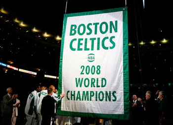 BOSTON, MA - OCTOBER 28: The Boston Celtics raise 2008 World Championship banner during the 2008 NBA World Championship ceremony before a game against the Cleveland Cavaliers at the TD Banknorth Garden on October 28, 2008 in Boston, Massachusetts. NOTE TO
