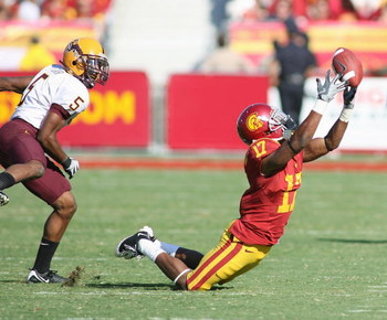 LOS ANGELES - OCTOBER 11:  Travon Patterson of the USC Trojans attemps to make a catch against the Arizona State Sun Devils on October 11, 2008 at the Los Angeles Memorial Coliseum in Los Angeles, California.  USC won 28-0.  (Photo by Jeff Golden/Getty Im