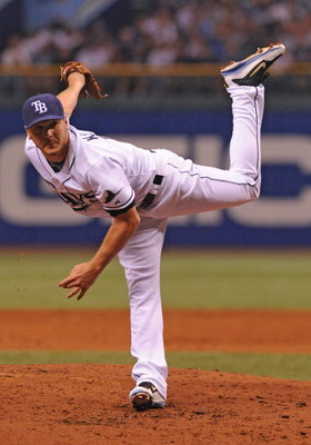 ST. PETERSBURG, FL - APRIL 13: Pitcher Scott Kazmir #19 of the Tampa Bay Rays starts against the New York Yankees on April 13, 2009 at Tropicana Field  in St. Petersburg, Florida.  (Photo by Al Messerschmidt/Getty Images)
