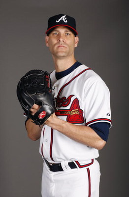 LAKE BUENA VISTA, FL - FEBRUARY 19:  Pitcher Tim Hudson #15 of the Atlanta Braves poses for a photo during Spring Training Photo Day on February 19, 2009 at Champions Stadium at Walt Disney World of Sports in Lake Buena Vista, Florida.  (Photo by Chris Gr