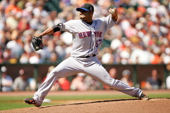 SAN FRANCISCO - MAY 16:  Johan Santana #57 of the New York Mets pitches to the San Francisco Giants at AT&T Park on May 16, 2009 in San Francisco, California.  The Mets won 9-6.  (Photo by Ezra Shaw/Getty Images)