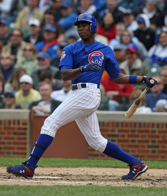 CHICAGO - MAY 27: Alfonso Soriano #12 of the Chicago Cubs hits the ball during a game against the Pittsburgh Pirates on May 27, 2009 at Wrigley Field in Chicago, Illinois. The Cubs defeated the Pirates 5-2.  (Photo by Jonathan Daniel/Getty Images)