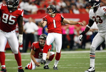 ATLANTA - OCTOBER 12:  Jason Elam #1 of the Atlanta Falcons kicks a field goal during the game against the Chicago Bears at the Georgia Dome on October 12, 2008 in Atlanta, Georgia.  (Photo by Kevin C. Cox/Getty Images)