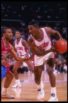 1989-1990:  Guard Joe Dumars of the Detroit Pistons moves the ball during a game. Mandatory Credit: ALLSPORT USA  /Allsport Mandatory Credit: ALLSPORT USA  /Allsport