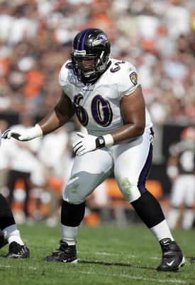 CLEVELAND - SEPTEMBER 30: Jason Brown #60 of the Baltimore Ravens moves on the field during the NFL game against the Cleveland Browns at Cleveland Browns Stadium September 30, 2007 in Cleveland, Ohio.  The Browns defeated the Ravens 27-13.  (Photo by Davi