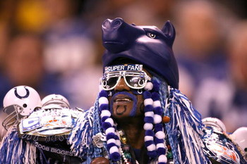 INDIANAPOLIS - NOVEMBER 02:  A fan of the Indianapolis Colts supports his team against the New England Patriots at Lucas Oil Stadium on November 2, 2008 in Indianapolis, Indiana.  (Photo by Andy Lyons/Getty Images)