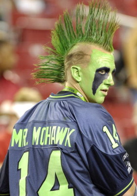 TAMPA, FL - OCTOBER 19: A fan of the Seattle Seahawks, named Mr. Mohawk, watches warmups against the Tampa Bay Buccaneers at Raymond James Stadium on October 19, 2008 in Tampa, Florida. (Photo by Al Messerschmidt/Getty Images)