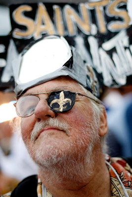 NEW ORLEANS - SEPTEMBER 24:  A Saints fan poses for a photo outside the Superdome before the Tennessee Titans play the New Orleans Saints on September 24, 2007 at the Louisiana Superdome in New Orleans, Louisiana.  (Photo by Chris Graythen/Getty Images)