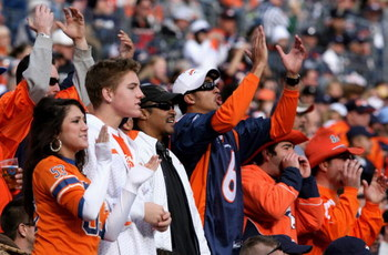 DENVER - NOVEMBER 23:  Fans of the Denver Broncos support their team against the Oakland Raiders during week 12 NFL action at Invesco Field at Mile High on November 23, 2008 in Denver, Colorado. The Raiders defeated the Broncos 31-10.  (Photo by Doug Pens