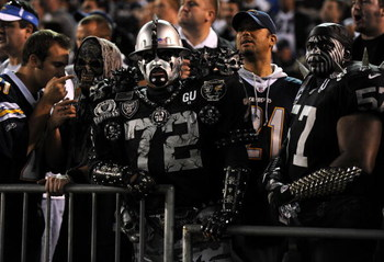 SAN DIEGO - DECEMBER 04:  Oakland Raiders fans look on during the NFL Game against the San Diego Chargers on December 4, 2008 at Qualcomm Stadium in San Diego, California.  (Photo by Harry How/Getty Images)