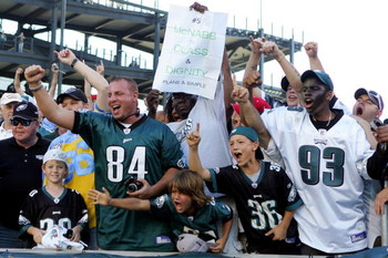 PHILADELPHIA - SEPTEMBER 23:  Fans of the Philadelphia Eagles celebrate after their team defeated the Detroit Lions on September 23, 2007 at Lincoln Financial Field in Philadelphia, Pennsylvania.  The Eagles defeated the Lions 56 to 21.  (Photo by Jim McI