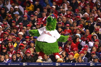 PHILADELPHIA - OCTOBER 25:  The Philadelphia Phillies mascot Philly Fanatic dances on the dugout while taking on the Tampa Bay Rays during game three of the 2008 MLB World Series on October 25, 2008 at Citizens Bank Park in Philadelphia, Pennsylvania.  (P