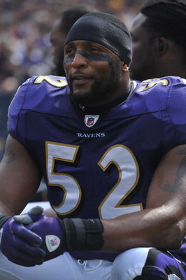 BALTIMORE - OCTOBER 11:  Ray Lewis #52 of the Baltimore Ravens sits on the bench before the game against the Cincinnati Bengals at M&T Bank Stadium on October 11, 2009 in Baltimore, Maryland. The Bengals defeated the Ravens 17-14. (Photo by Larry French/G