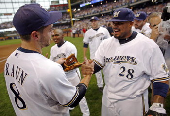 MILWAUKEE - SEPTEMBER 28:  Prince Fielder #28 of the Milwaukee Brewers congratulates teammate Ryan Braun #8 as they celebrate clinching the National League Wild Card after the game against the Chicago Cubs at Miller Park on September 28, 2008 in Milwaukee