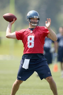 RENTON, WA - JUNE 12:  Quarterback Matt Hasselbeck #8 passes the ball during minicamp at the Seahawks training facility on June 12, 2009 in Renton, Washington. (Photo by Otto Greule Jr/Getty Images)