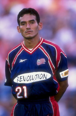 7 Jul 1998:  Raul Diaz Arce #21 of the New England Revolution looks on prior to a game against the Colorado Rapids at the Mile High Stadium in Denver, Colorado. The Rapids defeated the Revolution 2-1. Mandatory Credit: Brian Bahr  /Allsport