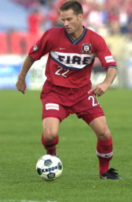 9 Jun 2001:  Eric Wynalda #22 of the Chicago Fire dribbles down field during the match against the Columbus Crew at Soldier Field in Chicago, Illinois. The Fire defeated the Crew 1-0. DIGITAL IMAGE Mandatory Credit: Jonathan Daniel/ALLSPORT