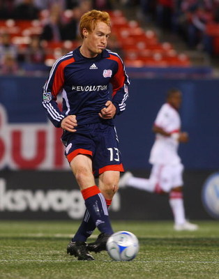 EAST RUTHERFORD, NJ - MARCH 28:  Jeff Larentowicz #13 of the New England Revolution plays against the New York Red Bulls at Giants Stadium in the Meadowlands on March 28, 2009 in East Rutherford, New Jersey. The Red Bulls tied the Revolution 1-1. (Photo b