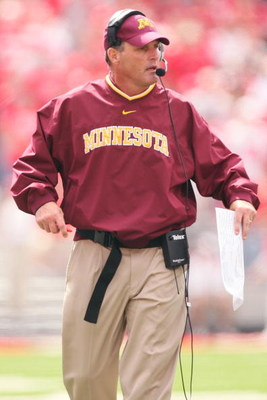 COLUMBUS, OH - SEPTEMBER 27: Minnesota Golden Gophers head coach Tim Brewster watches his team in action against the Ohio State Buckeyes on September 27, 2008 at Ohio Stadium in Columbus, Ohio.  (Photo by Jamie Sabau/Getty Images)