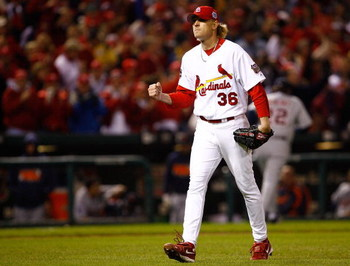 ST LOUIS, MO - OCTOBER 27:  Starting pitcher Jeff Weaver #36 of the St. Louis Cardinals celebrates after he struck out Ivan Rodriguez #7 of the Detroit Tigers to end the sixth inning during Game Five of the 2006 World Series on October 27, 2006 at Busch S