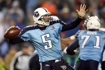 NASHVILLE, TN - JANUARY 10:  Quarterback Kerry Collins #5 of the Tennessee Titans throws the ball in the second half against the Baltimore Ravens during the AFC Divisional Playoff Game on January 10, 2009 at LP Field in Nashville, Tennessee.  (Photo by An
