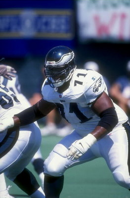 6 Sep 1998:  Guard Jermane Mayberry #71 of the Philadelphia Eagles in action during a game against the Seattle Seahawks at Veteran Stadium in Philadelphia, Pennsylvania. The Seahawks defeated the Eagles 38-0. Mandatory Credit: Rick Stewart  /Allsport
