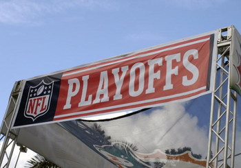 MIAMI, FL - JANUARY 4:  An NFL playoff banner is on display as the Miami Dolphins host the Baltimore Ravens in an NFL Wildcard Playoff Game at Dolphins Stadium on January 4, 2009 in Miami, Florida.  (Photo by Al Messerschmidt/Getty Images)