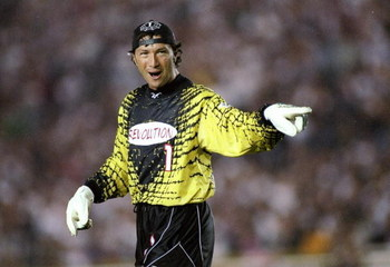4 Jul 1997:  Walter Zenga of the New England Revolution stands on the field during a game against the Los Angeles Galaxy at the Rose Bowl in Pasadena, California.  The Galaxy won the game 2-0. Mandatory Credit: Jamie Squire  /Allsport