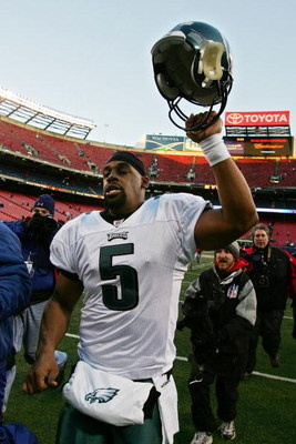 EAST RUTHERFORD, NJ - JANUARY 11:  Donovan McNabb #5 of the Philadelphia Eagles walks off of the field after defeating the New York Giants during the NFC Divisional Playoff Game on January 11, 2009 at Giants Stadium in East Rutherford, New Jersey.  (Photo