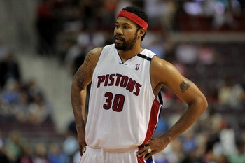 AUBURN HILLS, MI - APRIL 24:  Rasheed Wallace #30 of the Detroit Pistons looks across the court in Game Three of the Eastern Conference Quarterfinals against the Cleveland Cavaliers during the 2009 NBA Playoffs at the Palace of Auburn Hills on April 24, 2
