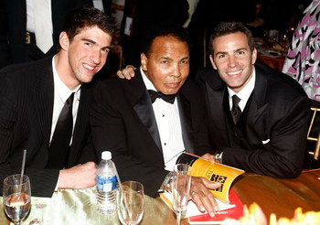 PHOENIX - MARCH 28: (L-R) Michael Phelps, Muhammad Ali and Kurt Warner pose during Muhammad Ali's Celebrity Fight Night XV held at the JW Marriott Desert Ridge Resort & Spa on March 28, 2009 in Phoenix, Arizona.  (Photo by Michael Buckner/Getty Images for